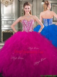 New Style Beaded and Ruffled Big Puffy Sweet 16 Dress in Fuchsia