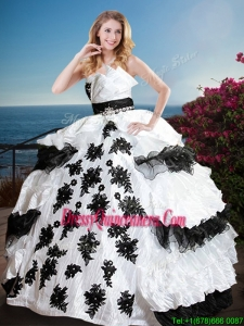 New Style Black and White Quinceanera Dress with Appliques and Ruffled Layers