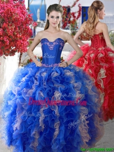 New Style Elegant Applique and Ruffled Big Puffy Quinceanera Dress in Organza