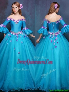 New Style Elegant Off the Shoulder Three Fourth Length Sleeves Quinceanera Dress with Appliques