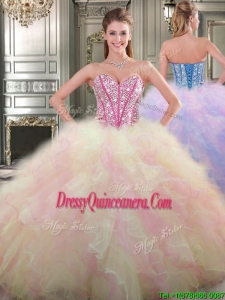 New Style Lovely Big Puffy Tulle Quinceanera Dress with Beading and Ruffles