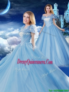 New Style Off the Shoulder Brush Train Applique Quinceanera Gown with Removable Cap Sleeves