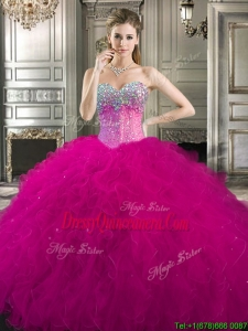 New Style Pretty Beaded and Ruffled Tulle Sweet 16 Dress in Fuchsia