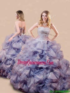 New Style Romantic Beaded and Bubble Big Puffy Quinceanera Dress in Lavender