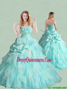 New Style Spaghetti Straps Brush Train Quinceanera Dress with Handcrafted Flowers and Bubbles