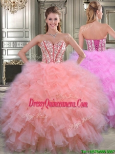 New Style Visible Boning Beaded Bodice and Ruffled Quinceanera Dress in Watermelon Red