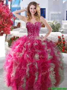 New Style Visible Boning Beaded and Ruffled Quinceanera Dress in Hot Pink