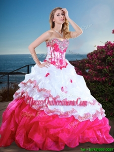 New Style Visible Boning Beaded and Ruffled Quinceanera Gown in Hot Pink and White