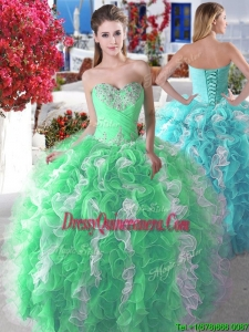 Wonderful New Style Organza Big Puffy Sweet 16 Dress with Beading and Ruffles