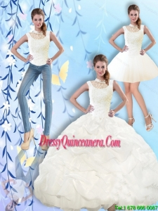 2015 Popular High Neck and Beaded Quinceanera Dresses with Pick Ups