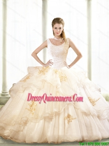 2015 Lovely Beading and Appliques Quinceanera Dresses in Champagne