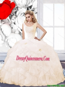 Exclusive 2015 Champagne Quinceanera Dress with Beading and Ruffles