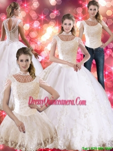 Flirting Laceed and Beaded Luxurious Sweet 16 Dresses with Cap Sleeves