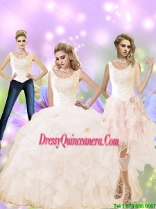 2015 New Style High Neck Quinceanera Dress with Beading and Ruffles