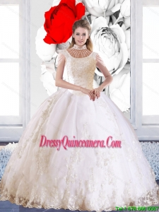 Popular 2015 Laceed and Beaded New Style Quinceanera Dress with High Neck