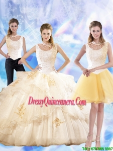 2015 Feminine Appliques and Beaded Pretty Quinceanera Dresses in Champagne