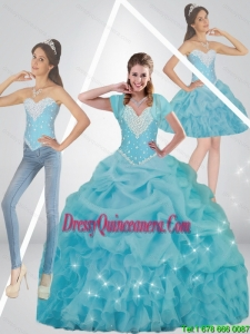 Cute Beaded 2015 Perfect Sweet 15 Dresses in Baby Blue