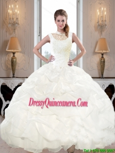 Discount 2015 High Neck and Beaded Perfect Sweet 15 Dresses with Pick Ups