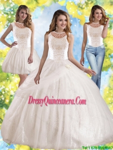Perfect Hand Made Flowers and Beaded Sweet 15 Dresses with Bateau