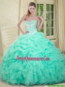2016 Beautiful Beaded and Pick Ups Quinceanera Dresses in Apple Green