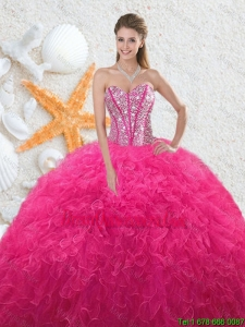 Beautiful 2016 Sweetheart Hot Pink Quinceanera Dresses with Beading