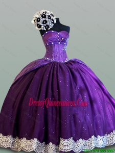 Pretty Ball Gown Sweetheart Quinceanera Dresses with Lace for 2015 Fall