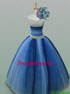 2015 Fall Elegant Spaghetti Straps Beaded Quinceanera Dresses in Tulle