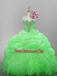 Beautiful Beaded Quinceanera Dresses in Organza for 2015 Fall