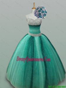 Elegant Spaghetti Straps Beaded Quinceanera Gowns in Tulle for 2015 Fall
