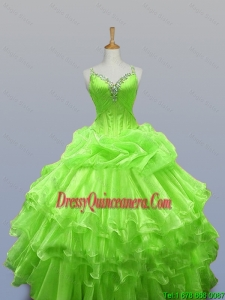 2015 Fall Elegant Straps Quinceanera Dresses with Ruffled Layers