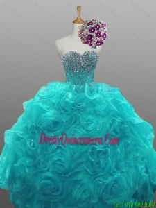 2015 Fall Elegant Sweetheart Beaded Quinceanera Dresses with Rolling Flowers