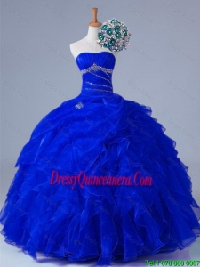 2015 Winter New Style Strapless Beaded and Ruffles Quinceanera Gowns in Organza