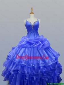 2015 Winter New Style Straps Quinceanera Gowns with Beading in Organza