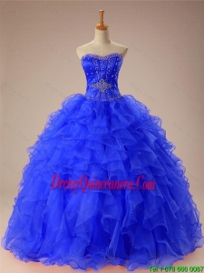 2016 Summer Perfect Beaded and Ruffles Quinceanera Dresses in Organza