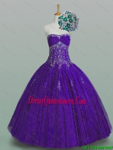 2016 Summer Perfect Strapless Quinceanera Dresses with Beading and Appliques
