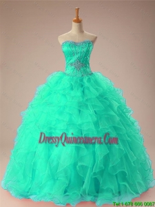 New Arrival 2016 Summer Sweetheart Beaded Quinceanera Dresses with Ruffles