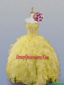 New Arrival 2016 Summer Sweetheart Dress for Quince with Beading and Ruffles