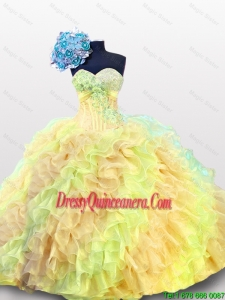 Pretty 2016 Summer Multi Color Beading Quinceanera Dresses with Sweetheart