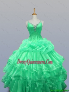 Pretty 2016 Summer Straps Quinceanera Dresses with Beading and Ruffled Layers