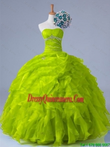 2015 Perfect Strapless Quinceanera Dresses with Beading and Ruffles