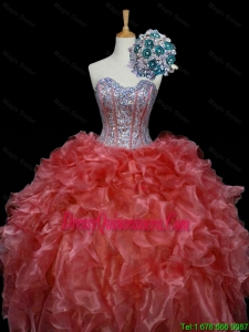 2015 Winter New Style Ball Gown Sweet 16 Dresses with Sequins and Ruffles in Rust Red