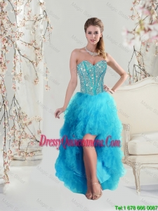 2016 Beautiful Sweetheart Beaded and Ruffles Turquoise Dama Dresses High Low