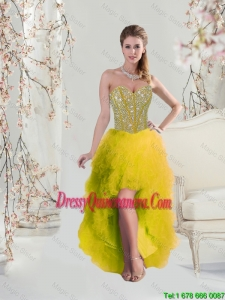 Beautiful High Low Sweetheart Yellow Dama Dresses with Beading and Ruffles