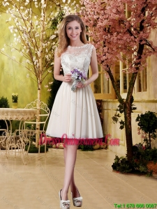 Perfect A Line Champagne Dama Dresses with Lace for 2016