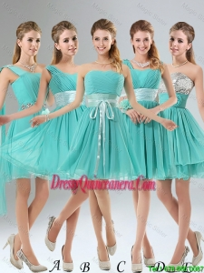 2016 A Line Ruched Lace Up Dama Dresses in Aqua Blue
