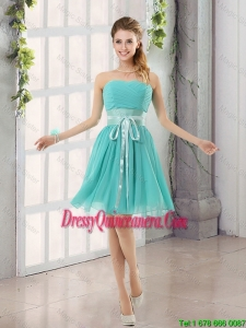 Perfect Belt and Ruched Sweetheart A Line Dama Dresses for 2016