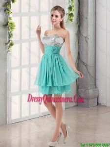 Popular 2016 A Line Dama Dresses with Sequins and Handle Made Flowers