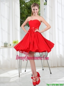 Pretty Ruched Strapless A Line Red Dama Dresses for 2016