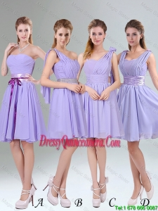 Popular Lavender Princess Mini Length 2016 Dama Dresses with Ruching