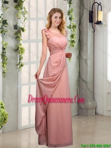 2016 Perfect Empire Appliques Ruched Scoop Dama Dresses
